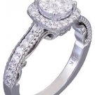 14k White Gold Round Cut Diamond Engagement Ring Art Deco Prong Set Halo 0.72ctw