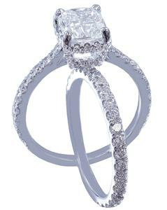 18k White Gold Cushion Cut Diamond Engagement Ring And Band Art Deco 2.10ctw