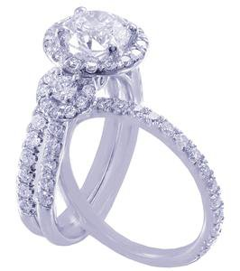 14k White Gold Round Cut Diamond Engagement Ring And Bands Halo Art Deco 1.70ctw