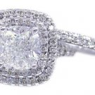 18K WHITE GOLD CUSHION CUT DIAMOND ENGAGEMENT RING AND BAND HALO 2.18CTW