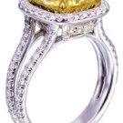 18K White Gold Cushion Yellow Citrine Round Cut Diamond Ring Split Band 3.65ctw