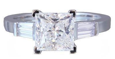 18K WHITE GOLD PRINCESS CUT DIAMOND ENGAGEMENT RING 1.90CTW H-VS2 EGL USA