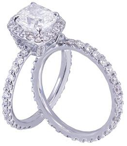 14k White Gold Cushion Cut Diamond Engagement Ring And Band 3.00ct H-VS2 EGL USA