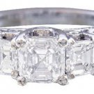18K WHITE GOLD ASSCHER CUT DIAMOND ENGAGEMENT RING ANTIQUE STYLE 2.30CTW