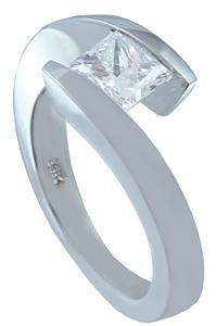 GIA H-VS2 14K WHITE GOLD PRINCESS CUT DIAMOND ENGAGEMENT RING TENSION SET 1.00CT