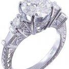 14K WHITE GOLD ROUND DIAMOND ENGAGEMENT RING ANTIQUE DECO 2.60CTW H-VS2 EGL USA