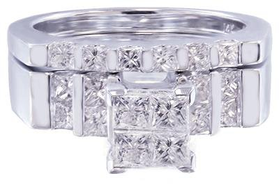 14K WHITE GOLD PRINCESS CUT DIAMOND ENGAGEMENT RING AND BAND PRONG SET 1.65CTW