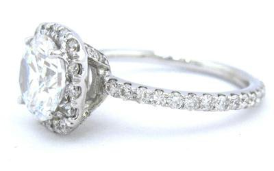 ROUND CUT DIAMOND ENGAGEMENT RING ART DECO 14K WHITE GOLD 2.10CTW