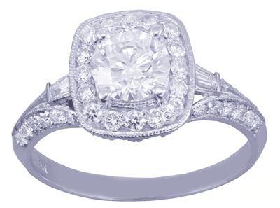 GIA H-VS2 14k White Gold Round Cut Diamond Engagement Ring Deco Prong 1.95ctw