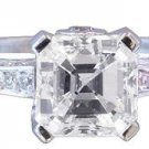 GIA H-VS2 18K White Gold Asscher And Round Diamond Engagement Ring Halo 2.50ct