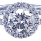 14K WHITE GOLD ROUND CUT DIAMOND ENGAGEMENT RING ART DECO SPLIT BAND 2.15CTW