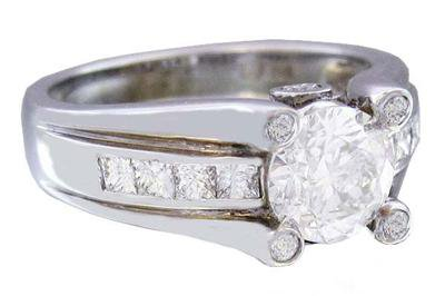 14K WHITE GOLD ROUND CUT AND PRINCESS CUT DIAMOND ENGAGEMENT RING 1.50CTW