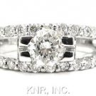 14K WHITE GOLD ROUND CUT DIAMOND ENGAGEMENT RING ART DECO SPLIT BAND 1.40CTW