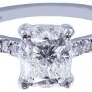 18K WHITE GOLD CUSHION CUT DIAMOND ENGAGEMENT RING ART DECO HALO 1.65CT