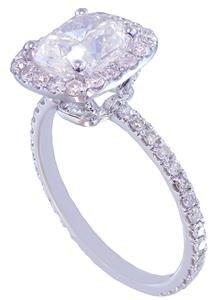 GIA I-VS2 18k white gold cushion cut diamond engagement ring halo 2.10ctw