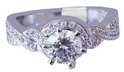 18k White Gold Round Cut Diamond Engagement Ring Prong Set Art Deco 1.10ctw