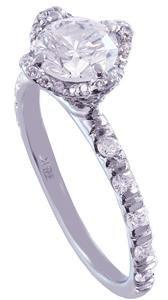 18k White Gold Round Cut Diamond Engagement Ring Art Deco Halo Prong Set 1.80ct