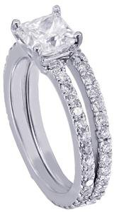 18k White Gold Princess Cut Diamond Engagement Ring And Band Halo Set 2.00ctw