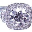 14K WHITE GOLD ROUND CUT DIAMOND ENGAGEMENT RING ART DECO HALO 2.35CTW