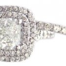 18K WHITE GOLD CUSHION CUT DIAMOND ENGAGEMENT RING AND BAND 1.65CT H-VS2 EGL USA