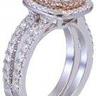 GIA G-VS2 14K White Gold Cushion Cut Diamond Engagement Ring And Band Halo 1.90c