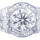 18K WHITE GOLD ROUNDS CUT AND BAGUETTES DIAMOND ENGAGEMENT RING 1.65CTW