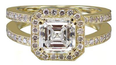 18k Yellow Gold Asscher Cut Diamond Engagement Ring Halo 2.70ctw H-VS2 EGL USA