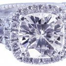 14K WHITE GOLD CUSHION CUT DIAMOND ENGAGEMENT RING ART DECO 2.15CTW