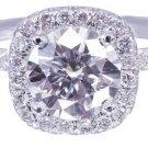 18K White Gold Round Cut Diamond Engagement Ring Halo Prong 2.15ctw I-SI1 EGL US