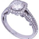 14K WHITE GOLD ROUND CUT DIAMOND ENGAGEMENT RING DECO STYLE 1.65CT H-SI1 EGL USA