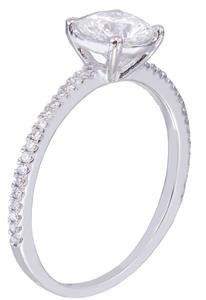 18k white gold round cut diamond engagement ring prong set 1.32ctw H-VS2 EGL USA