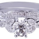18k White Gold Round Cut Diamond Engagement Ring And Band Art Deco Style 0.75ctw