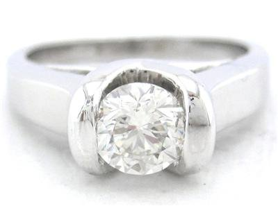 14K WHITE GOLD ROUND DIAMOND ENGAGEMENT RING SEMI TENSION SET 0.75CT