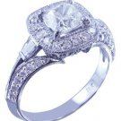 18k White Gold Cushion Cut Diamond Engagement Ring Antique Style Halo 1.65ctw