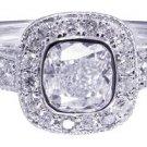 14k White Gold Cushion Cut Diamond Engagement Ring Bezel Set Deco Pave 1.35ctw