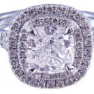 14k White Gold Cushion Cut Diamond Engagement Ring Prongs Set Split Band 2.30ct