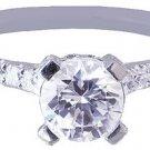 18k White Gold Round Cut Diamond Engagement Ring Prong Set Art Deco Pave 1.10ctw