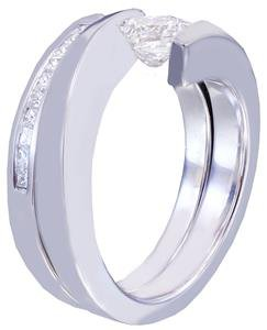 14K WHITE GOLD PRINCESS CUT DIAMOND ENGAGEMENT RING AND BAND TENSION SET 1.25CTW