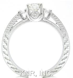 18K WHTIE GOLD ROUND CUT DIAMOND ENGAGEMENT RING ART DECO ANTIQUE STYLE 0.76CTW