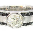 14K WHITE GOLD ROUND CUT BLACK AND WHITE DIAMOND MENS BAND RING ETERNITY 2.50CTW