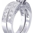 14K WHITE GOLD ROUND CUT DIAMOND ENGAGEMENT RING AND BAND ART DECO 1.00CTW