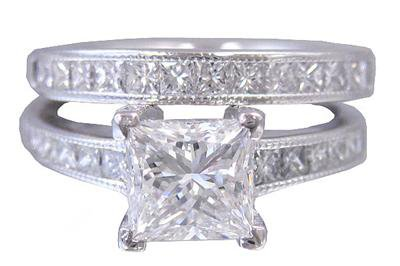 18K WHITE GOLD PRINCESS CUT DIAMOND ENGAGEMENT RING AND BAND DECO STYLE 2.20CTW