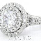 ROUND CUT DIAMOND ENGAGEMENT RING 14K WHITE GOLD PAVE SET 1.72CT ART DECO