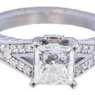 18K WHITE GOLD PRINCESS CUT DIAMOND ENGAGEMENT RING SPLIT BAND PRONG SET 1.86CTW