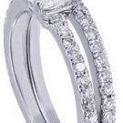 18k White Gold Princess Cut Diamond Engagement Ring And Band Halo Set 1.70ctw
