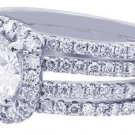 18K WHITE GOLD ROUND CUT DIAMOND ENGAGEMENT RING HALO PRONG SET ART DECO 1.89CTW