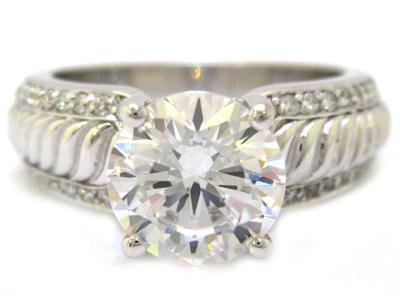 14K WHTIE GOLD ROUND CUT DIAMOND ENGAGEMENT RING ART DECO STYLE 1.85CTW