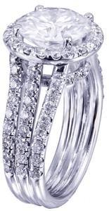 GIA I-SI1 18k White Gold Round Diamond Engagement Ring Prong Set Halo 3.10cttw