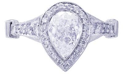 18K WHITE GOLD PEAR SHAPE CUT DIAMOND BEZEL SET ENGAGEMENT RING 2.35CTW