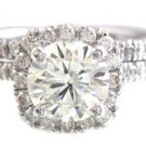18K WHITE GOLD ROUND CUT DIAMOND ENGAGEMENT RING AND BAND 1.85CTW H-VS2 EGL USA